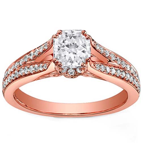 Pink Gold Radiant Diamond Split Band Engagement Ring Setting 0.49 tcw.
