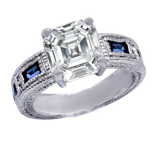 Engagement Ring -Asscher Cut Diamond Engagement Ring ...
