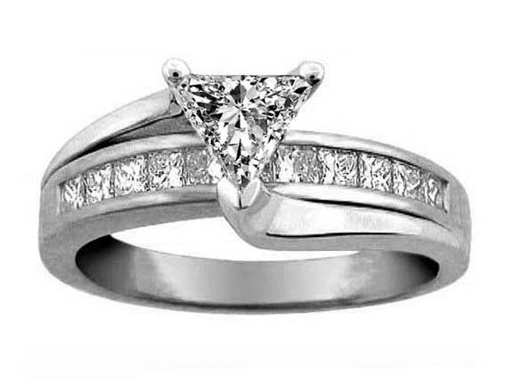 Trillion Diamond Bridge Engagement Ring in 950 Platinum 0.59 tcw.