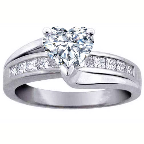 Heart Diamond Bridge Engagement Ring in 14K White Gold 0.59 tcw.