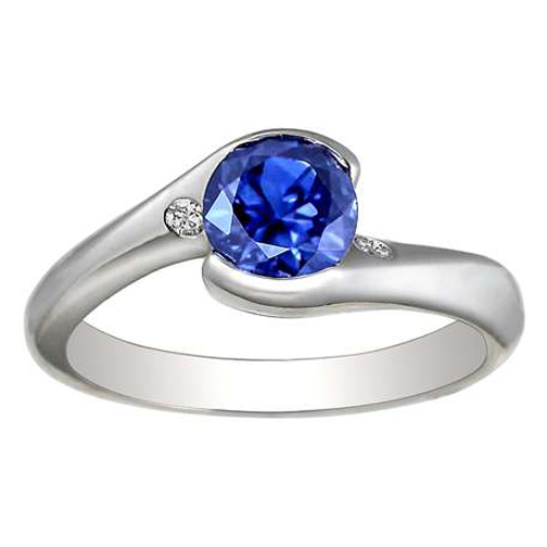 Blue Sapphire and Diamond Ring 1.06 Carat tw