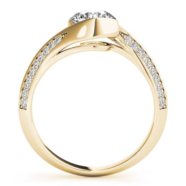 Engagement Ring Swirl Diamond Bezel Set Engagement Ring in Yellow