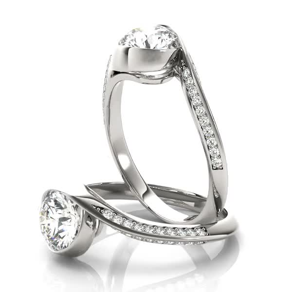Swirl Diamond Bezel Set Engagement Ring