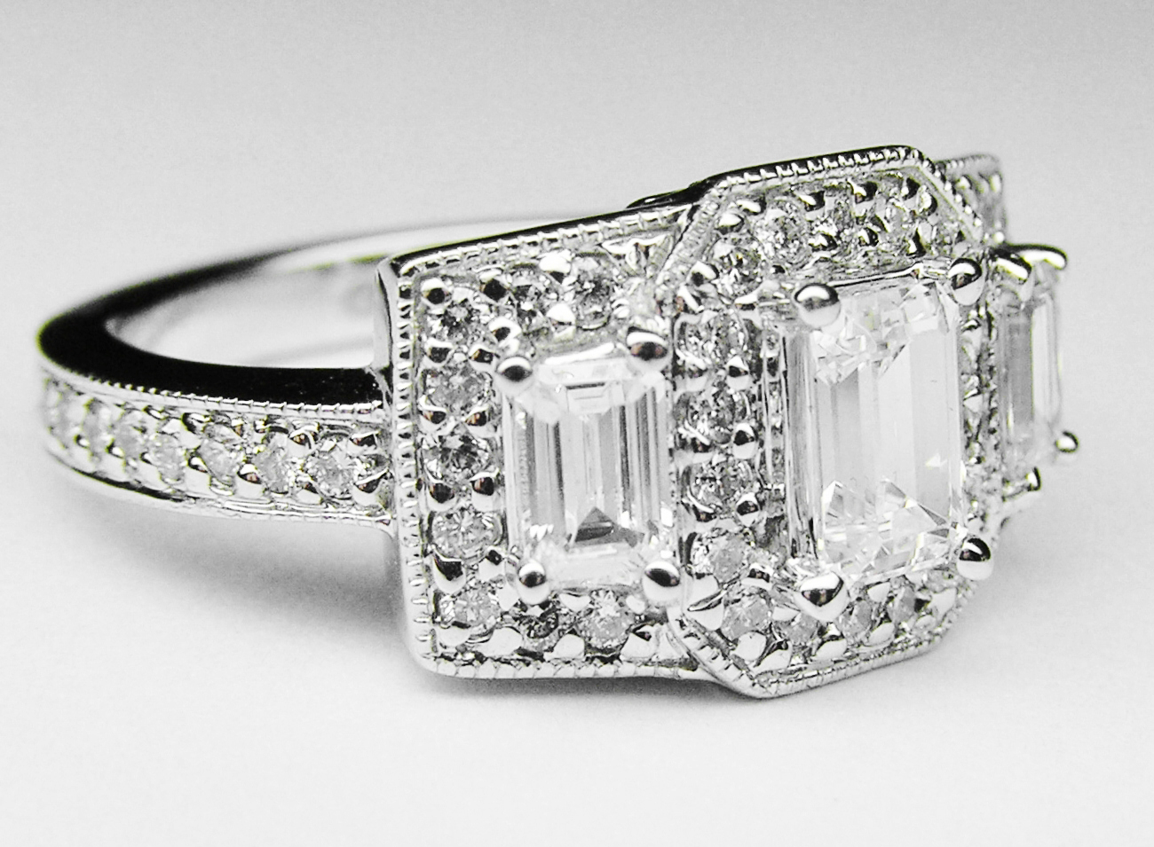 Engagement Ring Emerald Cut Diamond Vintage Style Three Stone Engagement Rin