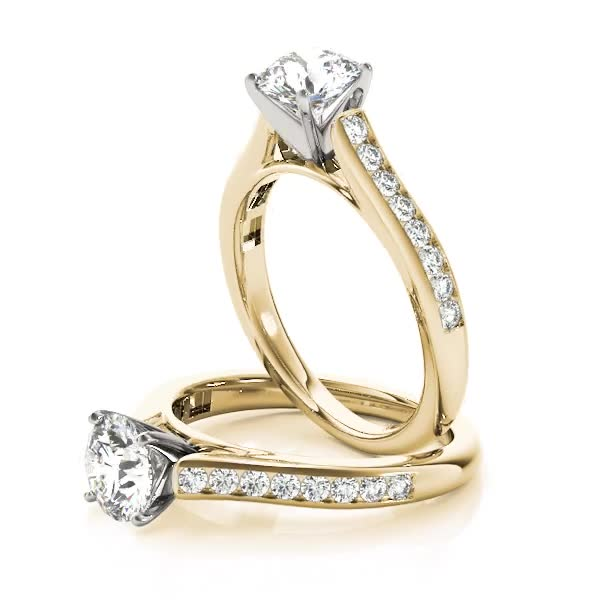Classic Channel Set Cathedral Diamond Engagement Ring in Yellow Gold
