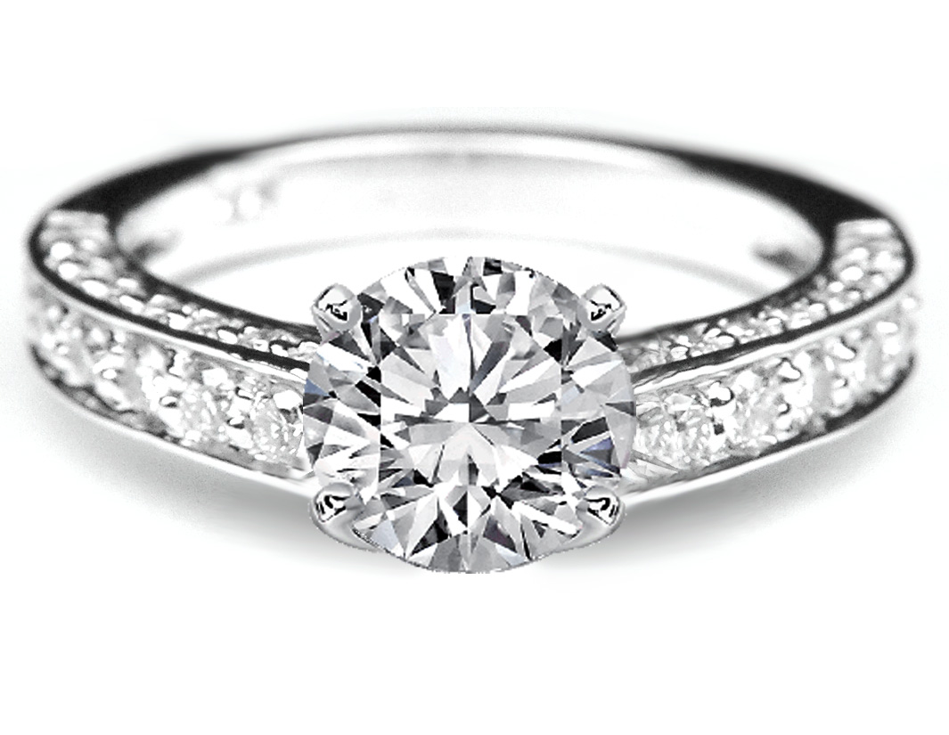 Diamond Engagement Ring Three sides pave Diamond band in 14K White Gold