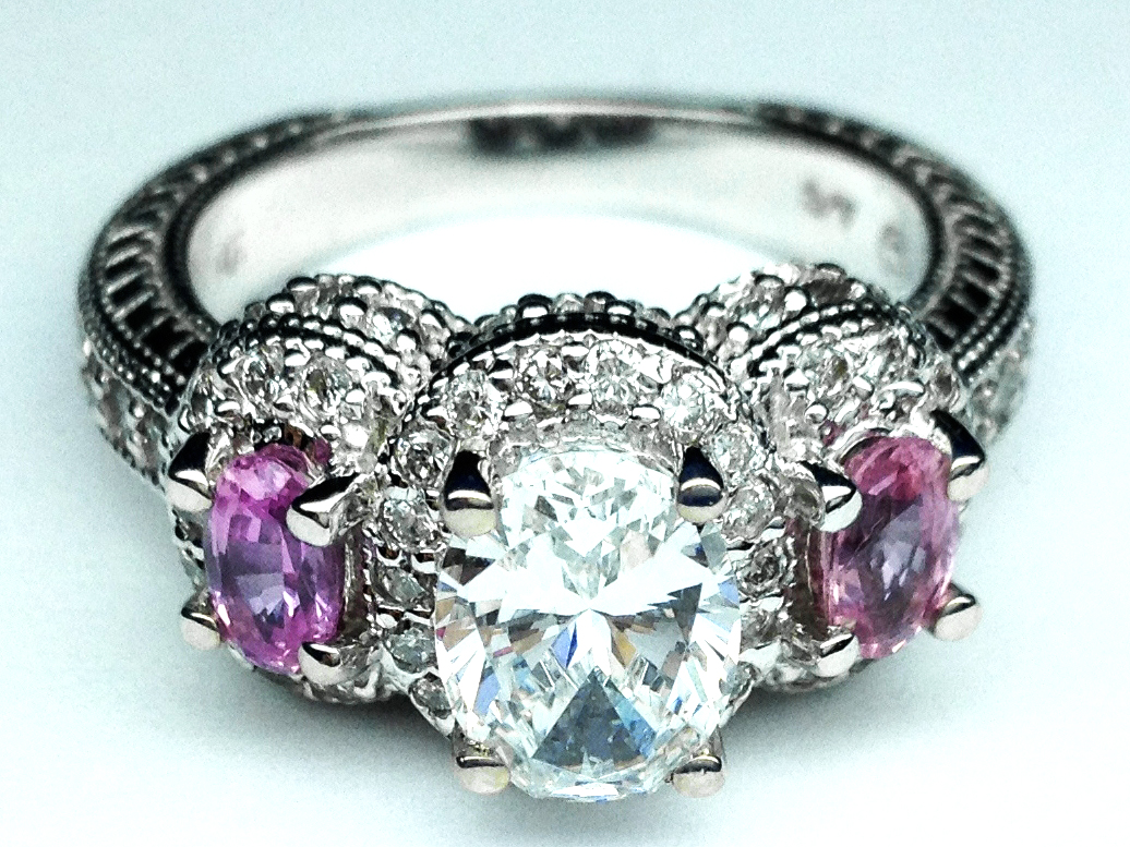Three Stone Oval Diamond Vintage Engagement Ring With Pink Sapphires Side  Stones 130 Tcw In