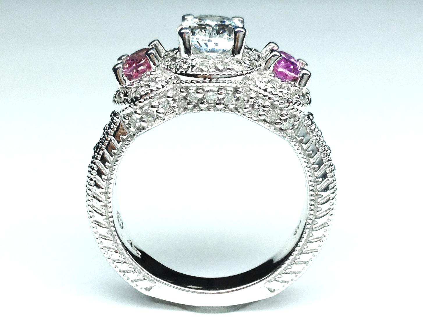 Engagement Ring Three Stone Oval Diamond Vintage Engagement Ring with Pink S