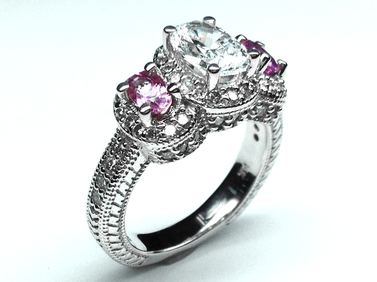 Engagement Ring Three Stone Oval Diamond Vintage With Pink Shires Side Stones 1 30 Tcw In 14k White Gold Es306wg
