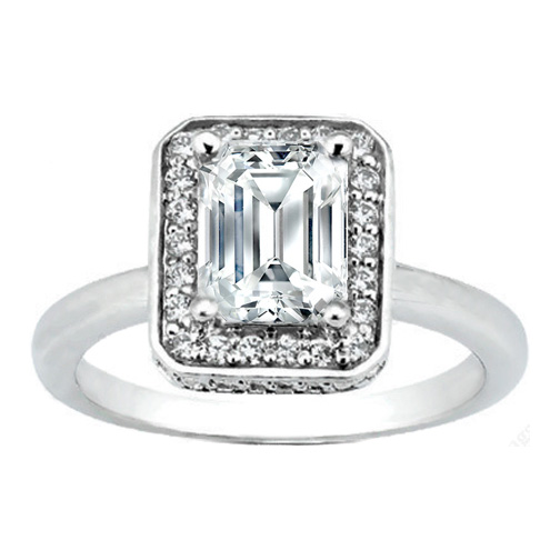 Engagement Ring Emerald Cut Vintage Style Engagement Ring with Round Cut Dia