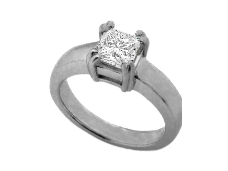 Princess Cut Diamond Solitaire Engagement Ring with Double Prongs In 14K White Gold