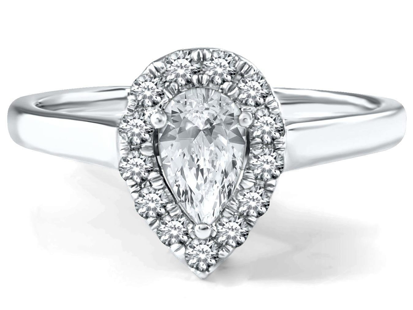 Engagement Ring Pear Shape Diamond Petite Halo Engagement Ring in 14K White