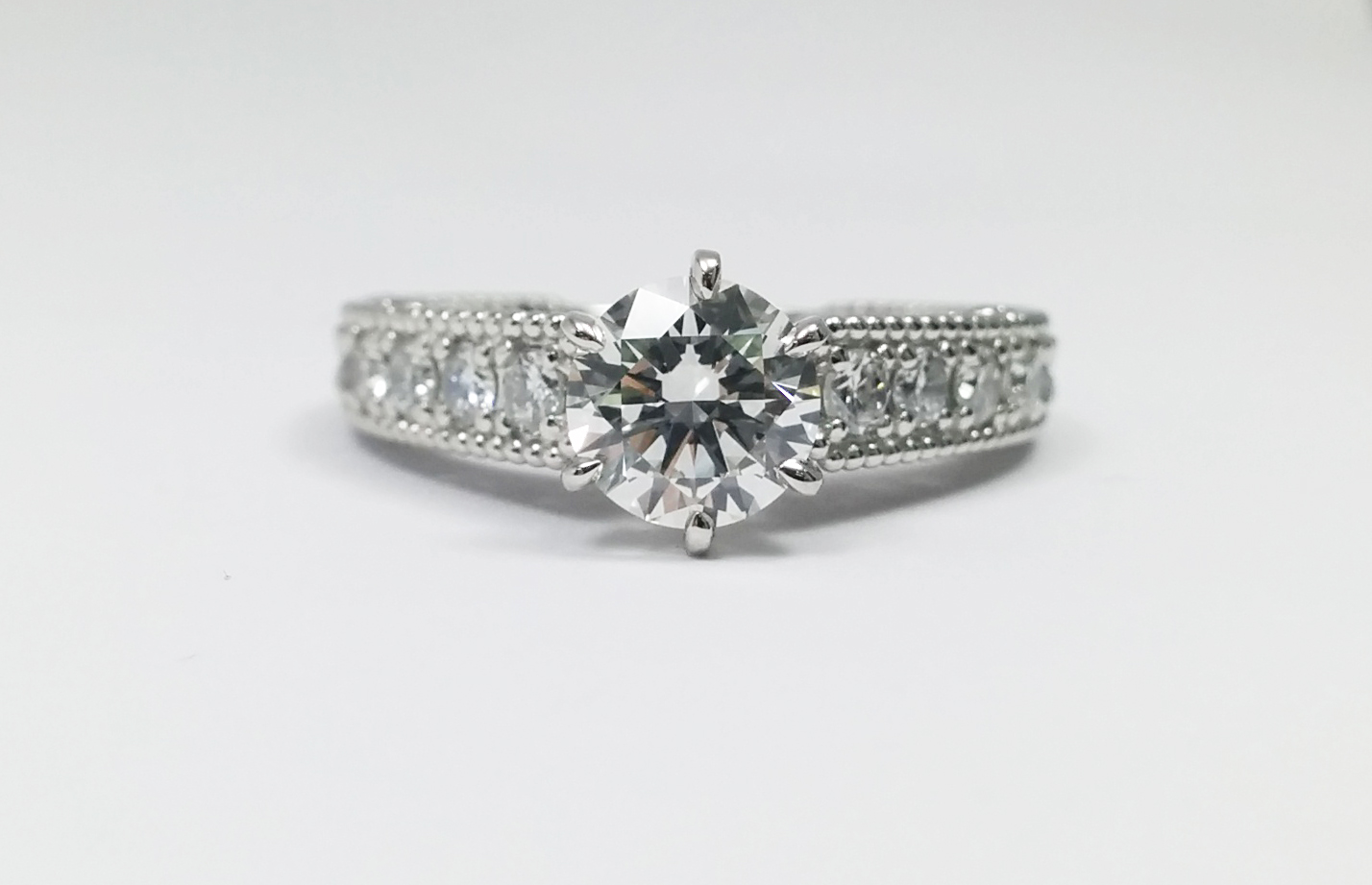 Filigree & Wheat Engraving Heirloom Engagement Ring 0.40 tcw.