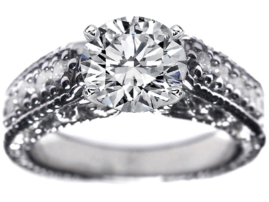 Filigree & Wheat Engraving Heirloom Engagement Ring 0.40 tcw. In 14K White Gold