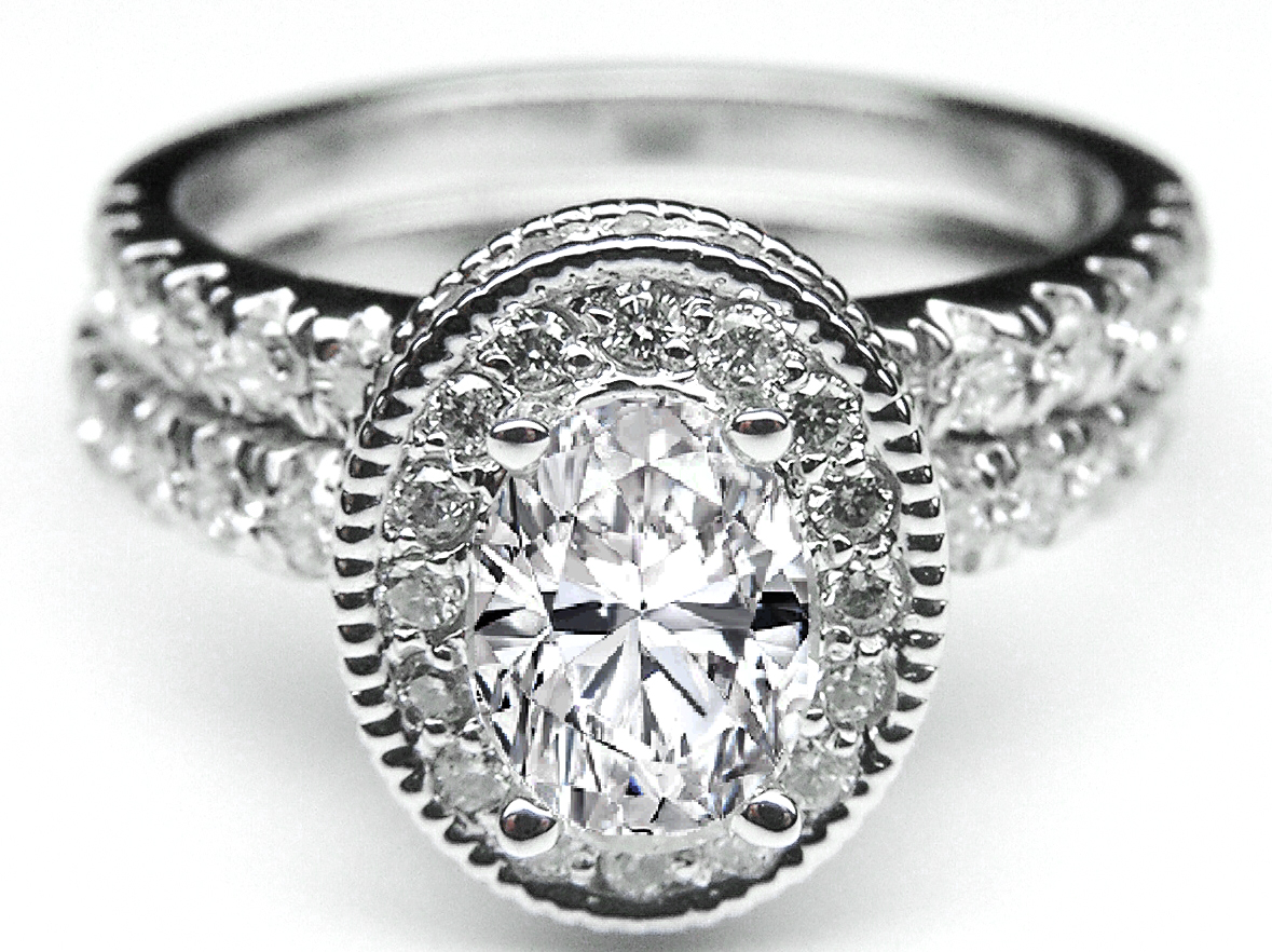 Oval Diamond Engagement Ring with double halo and Diamond band and Matching Wedding Band