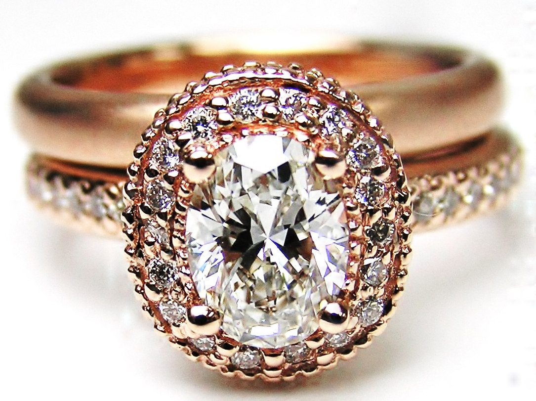 Oval Diamond Engagement Ring with double halo and Diamond band in 14K Rose Gold with Comfort Fit Matt Finish Wedding Band