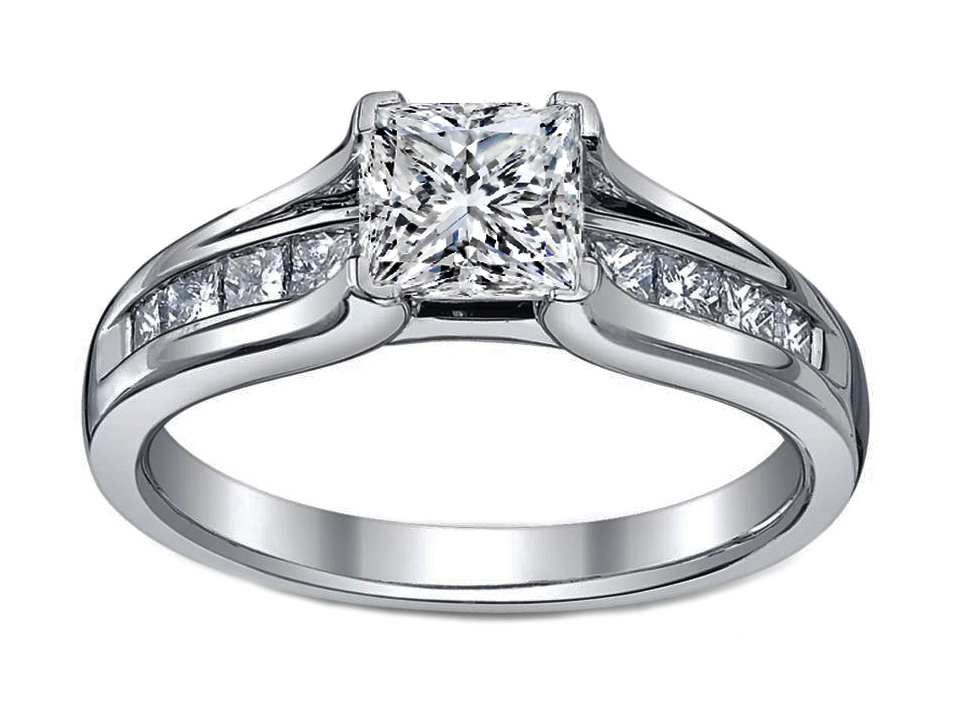Petite Princess Diamond Bridge Engagement ring in 14K White Gold