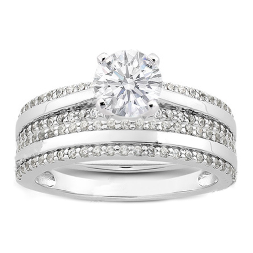 Round Diamond Pavé Set Ladies Wedding Ring 0.25 tcw. In 14K White Gold