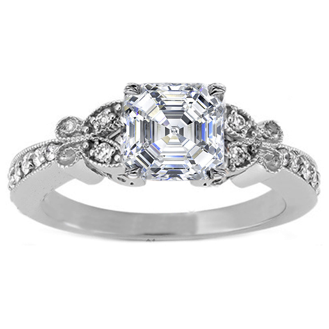 Asscher Diamond Butterfly Vintage Engagement Ring  0.16 tcw. In 14K White Gold