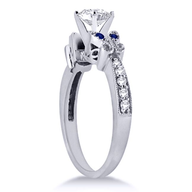 Blue Eyes Butterfly Bridal Set in 14K White Gold