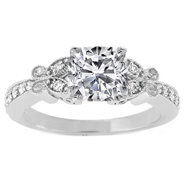 Cushion Diamond Butterfly Vintage Engagement Ring  0.16 tcw. In 14K White Gold