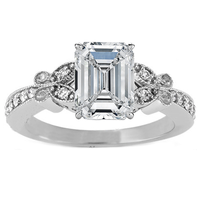Emerald Cut Diamond Butterfly Vintage Engagement Ring 016 Tcw In 14K White Gold