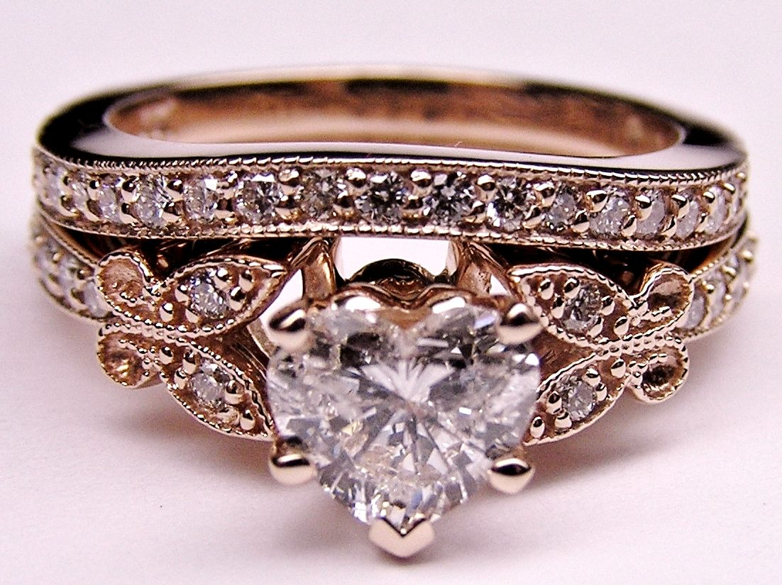 Vintage Wedding Ring Settings Engagement Ring Heart Shape Diamond Butterfly Vintage