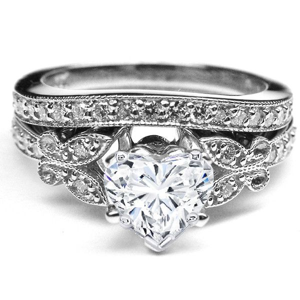 Heart Shape Diamond Butterfly Vintage Engagement Ring  & Matching Wedding Band 0.37 tcw. In White Gold