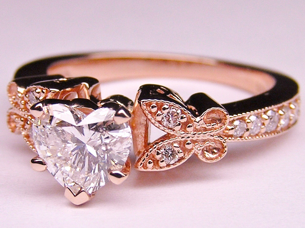 Heart Shape Diamond Butterfly Vintage Engagement Ring  0.16 tcw. In Pink Gold