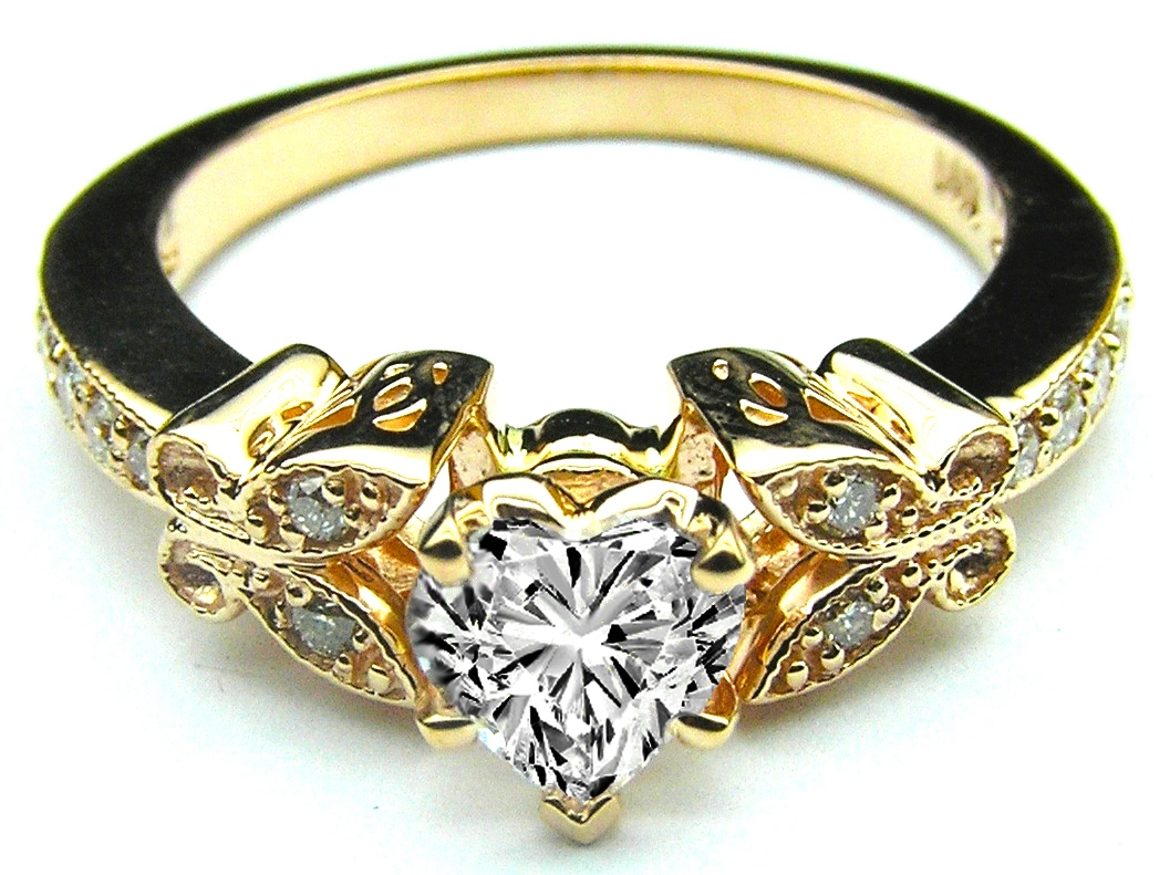 Heart Shape Diamond Erfly Vintage Engagement Ring 0 16 Tcw