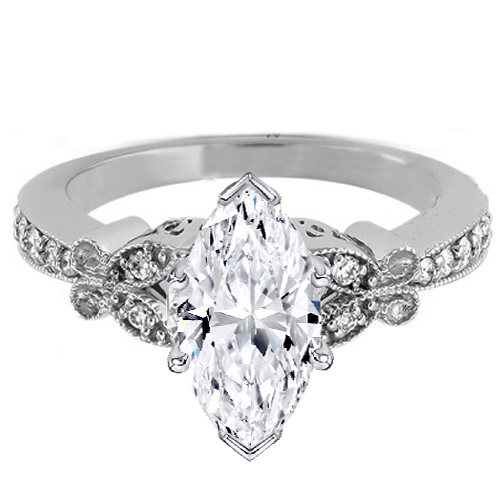Marquise Diamond Butterfly Vintage Engagement Ring  0.16 tcw. In 14K White Gold