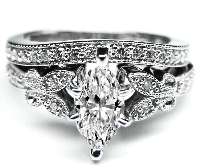 Marquise Diamond Butterfly Vintage Engagement Ring & Matching Wedding Band