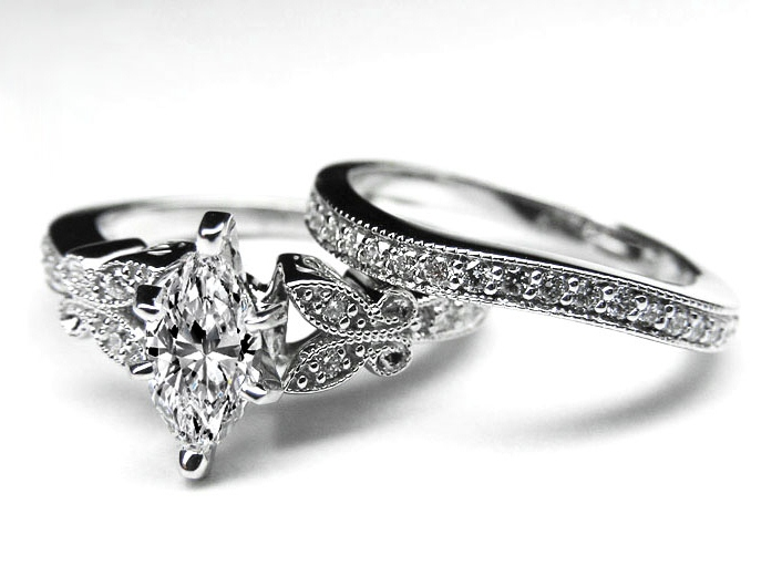 marquise diamond butterfly vintage engagement ring matching wedding
