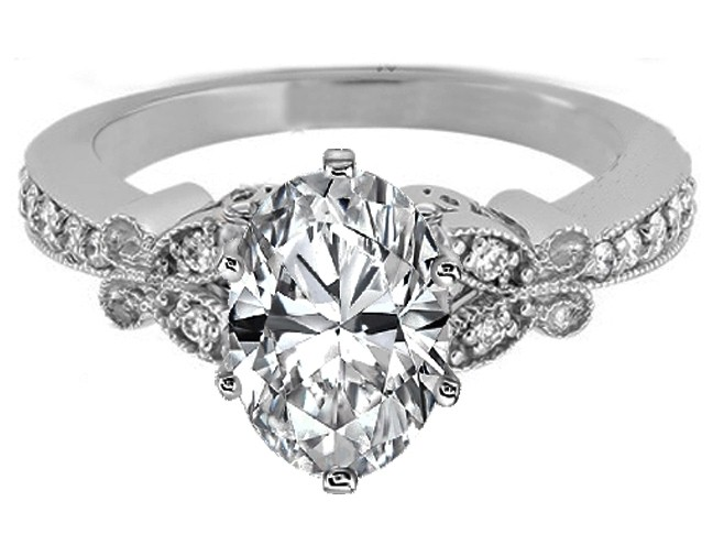 Oval Diamond Butterfly Vintage Engagement Ring Setting 0.16 tcw. In 14K White Gold