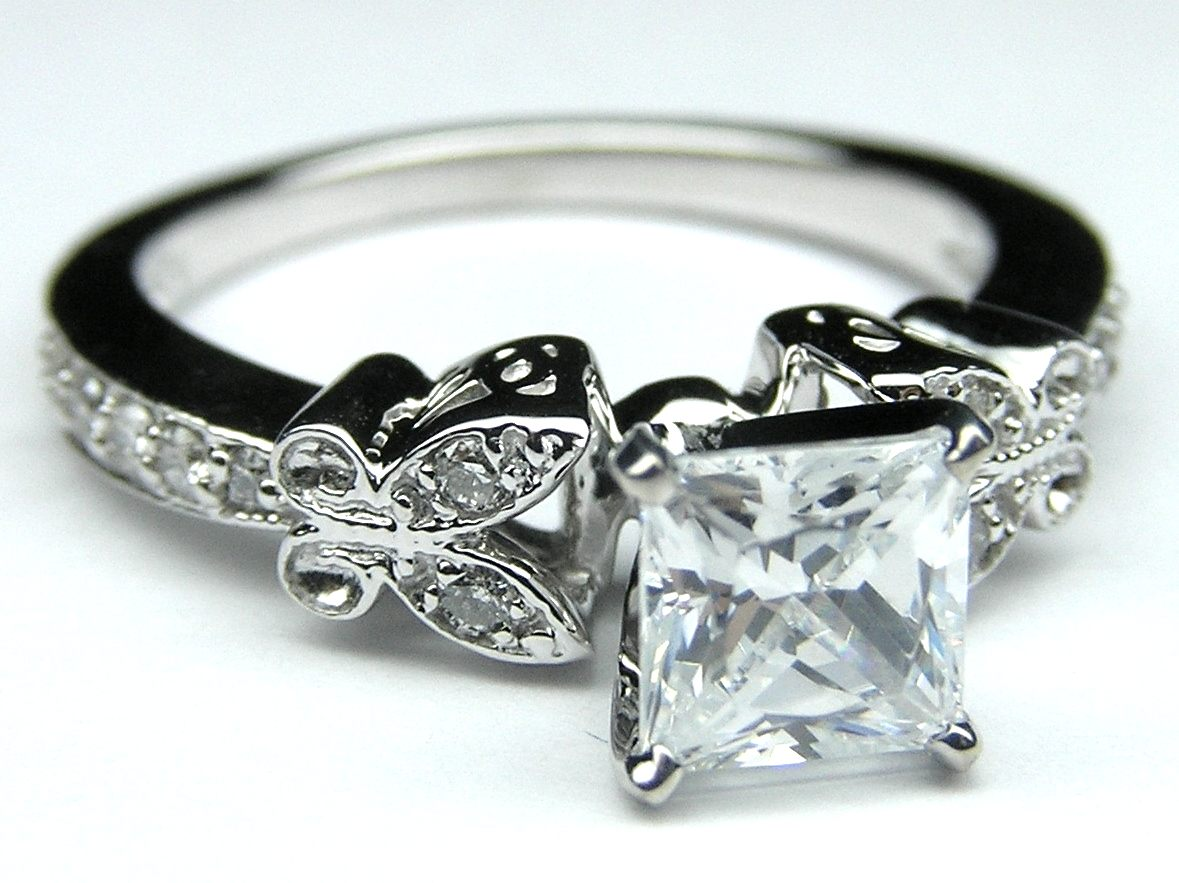 Princess Diamond Butterfly Vintage Engagement Ring  0.16 tcw. In 14 Karat White Gold