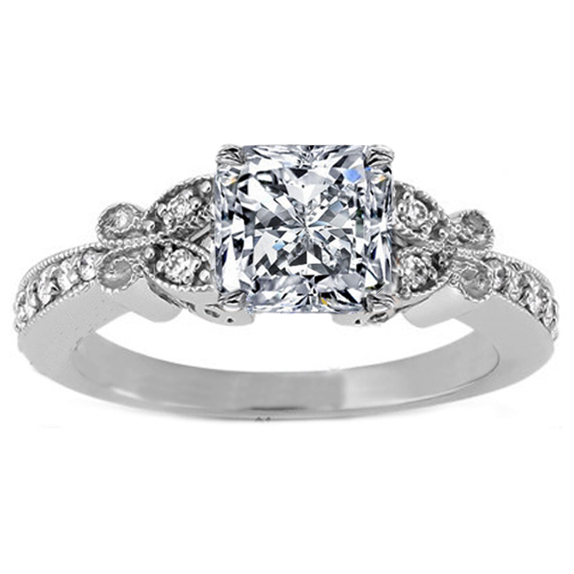 Radiant  Diamond Butterfly Vintage Engagement Ring  0.16 tcw. In 14K White Gold