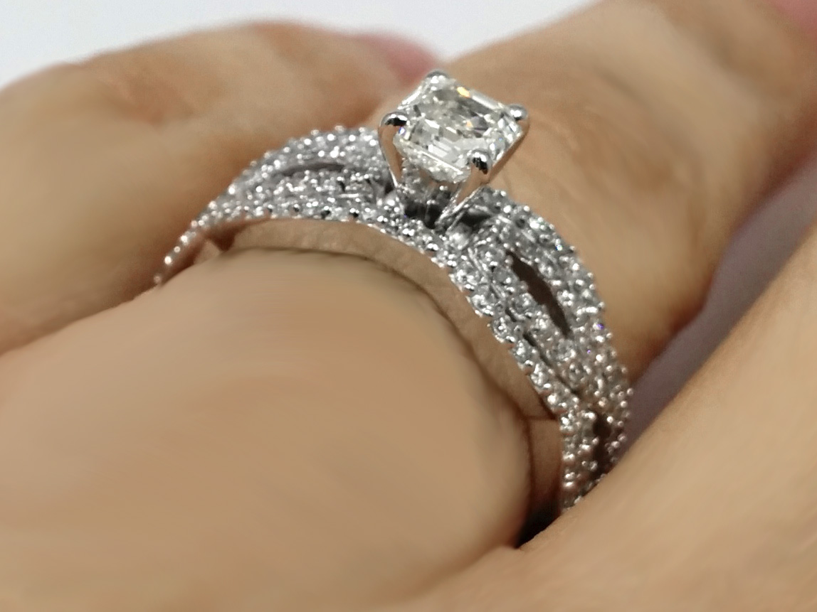 Vintage Asscher Diamond Infinity Engagement Ring & Matching Wedding Bands