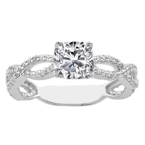 square cushion diamond vintage infinity engagement ring 038 tcw - Square Cut Wedding Rings