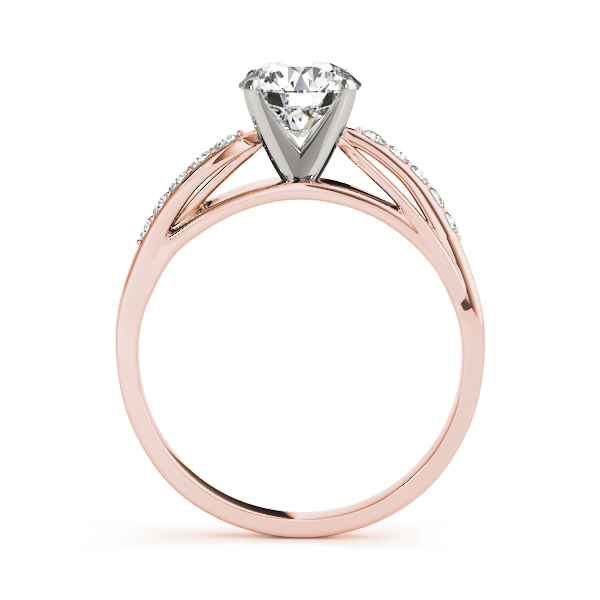 Swirl Cathedral Diamond Bridal-Set with Leave Design in Rose Gold