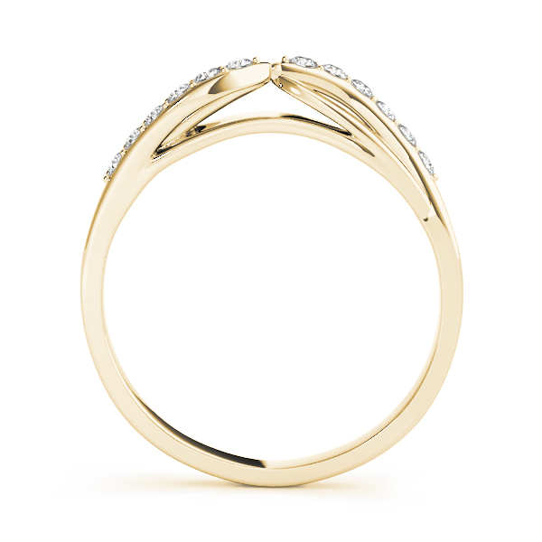 Swirl Diamond Matching Wedding Band in Yellow Gold