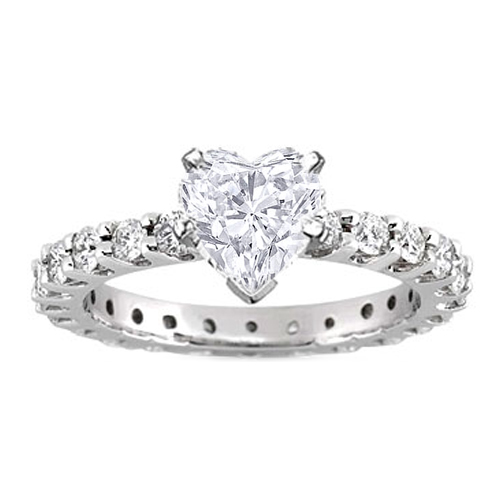 Heart Shape Eternity Diamond Engagement Ring 0.72 tcw. In 14K White Gold