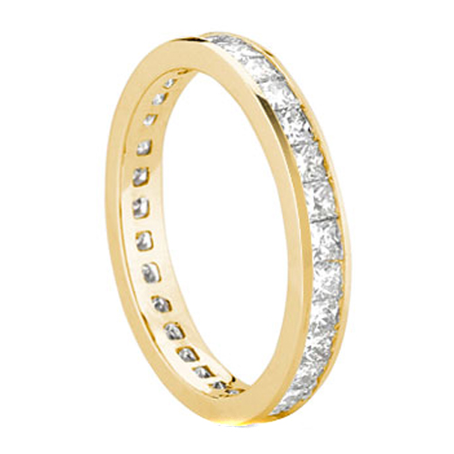 Princess Diamond Wedding Band 3.50 tcw. Channel Set In 14K Yellow Gold
