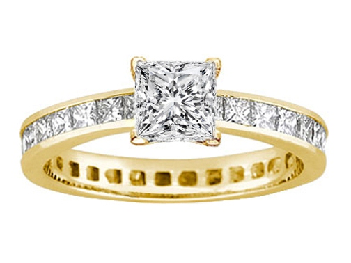 Princess Diamond Eternity Engagement Ring & matching wedding band Bridal Set 6.29 tcw. In 14K Yellow Gold