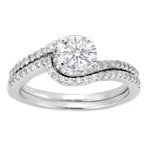 Swirl Diamond Engagement Ring And Matching Wedding Band In 14k White Gold 0 28 Tcw