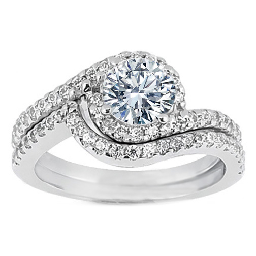 Swirl Diamond Halo Engagement Ring And Matching Wedding Band In 14k White Gold 0 43 Tcw