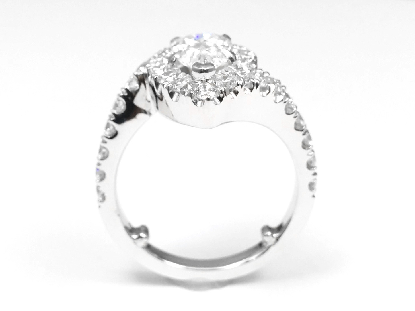 Pear Shape Diamond Pave Swirl Engagement Ring in 14K White Gold