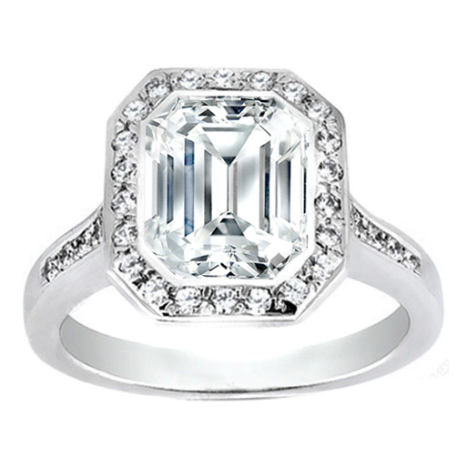 Emerald Cut Diamond Bezel Cathedral Halo Engagement Ring 0.37 tcw.