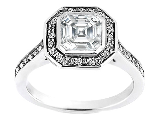 Asscher Cut Diamond Bezel Cathedral Halo Engagement Ring 0.36 tcw.