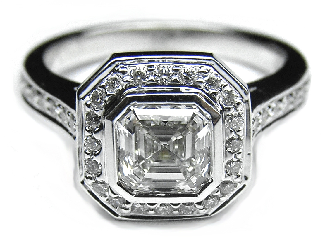 Asscher Cut Diamond Bezel Cathedral Halo Engagement Ring 0.36 tcw. In 14K White Gold