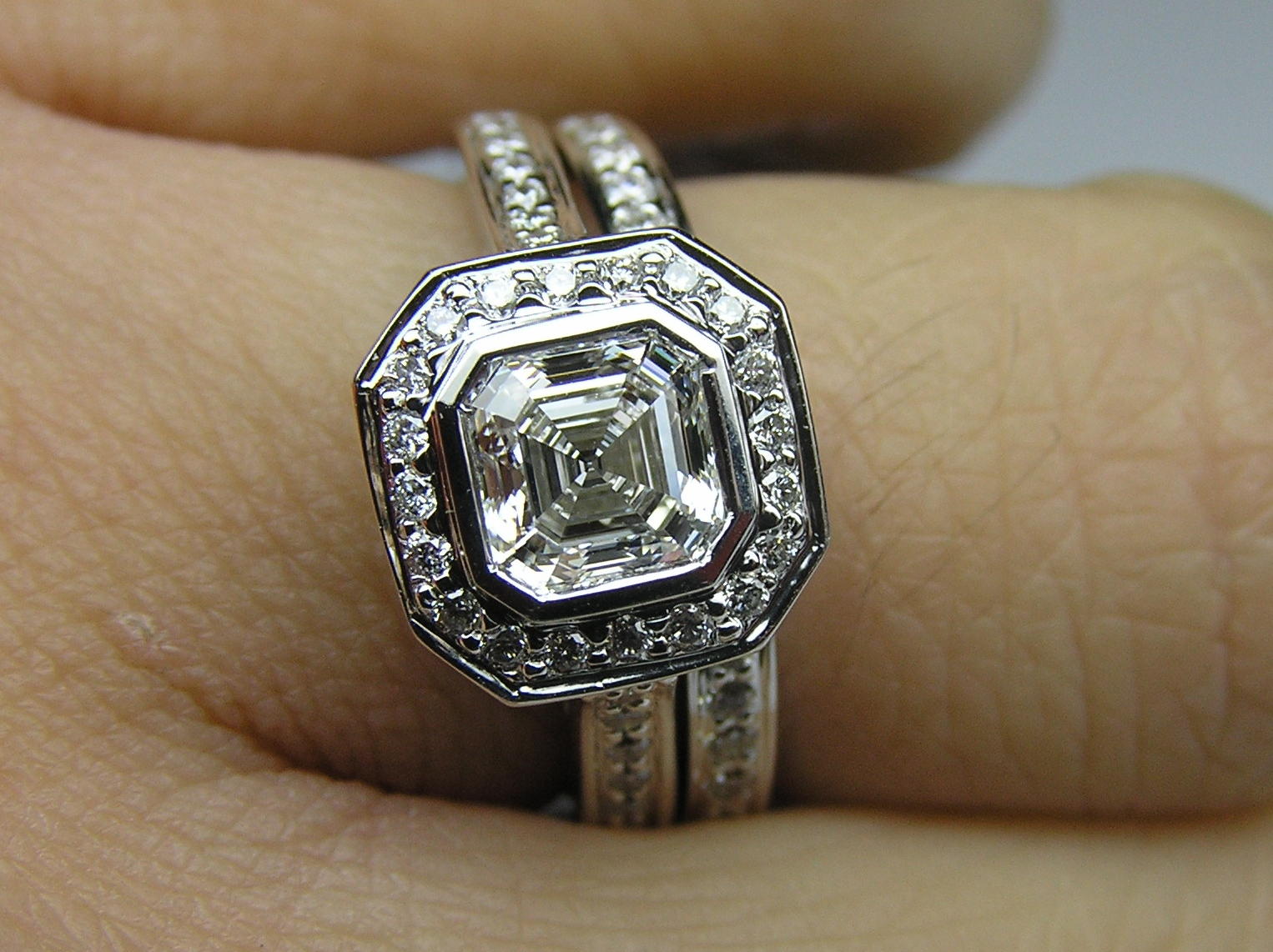 Asscher Cut Diamond Bezel Cathedral Halo Engagement Ring & Matching Wedding Band 0.51ctw. In 14K White Gold